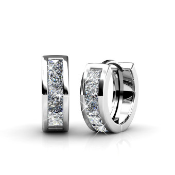 Harga Square Hoop Earrings - Crystals from Swarovski(R)