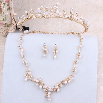 Style Korean style gold wedding necklace earrings bridal necklace