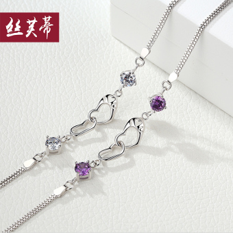 Sweet beauty Japanese and Korean style heart-shaped silver bracelet