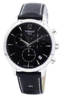 Tissot Tradition Chronograph Men's Black Leather Strap Watch T063.617.16.057.00